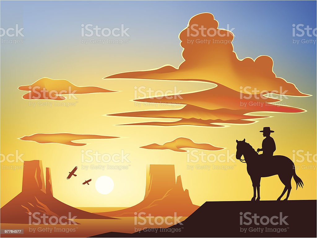 Cowboy on Horse overlooking Monument Valley vector art illustration