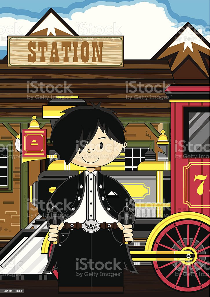 Cowboy Outlaw at Train Station royalty-free stock vector art