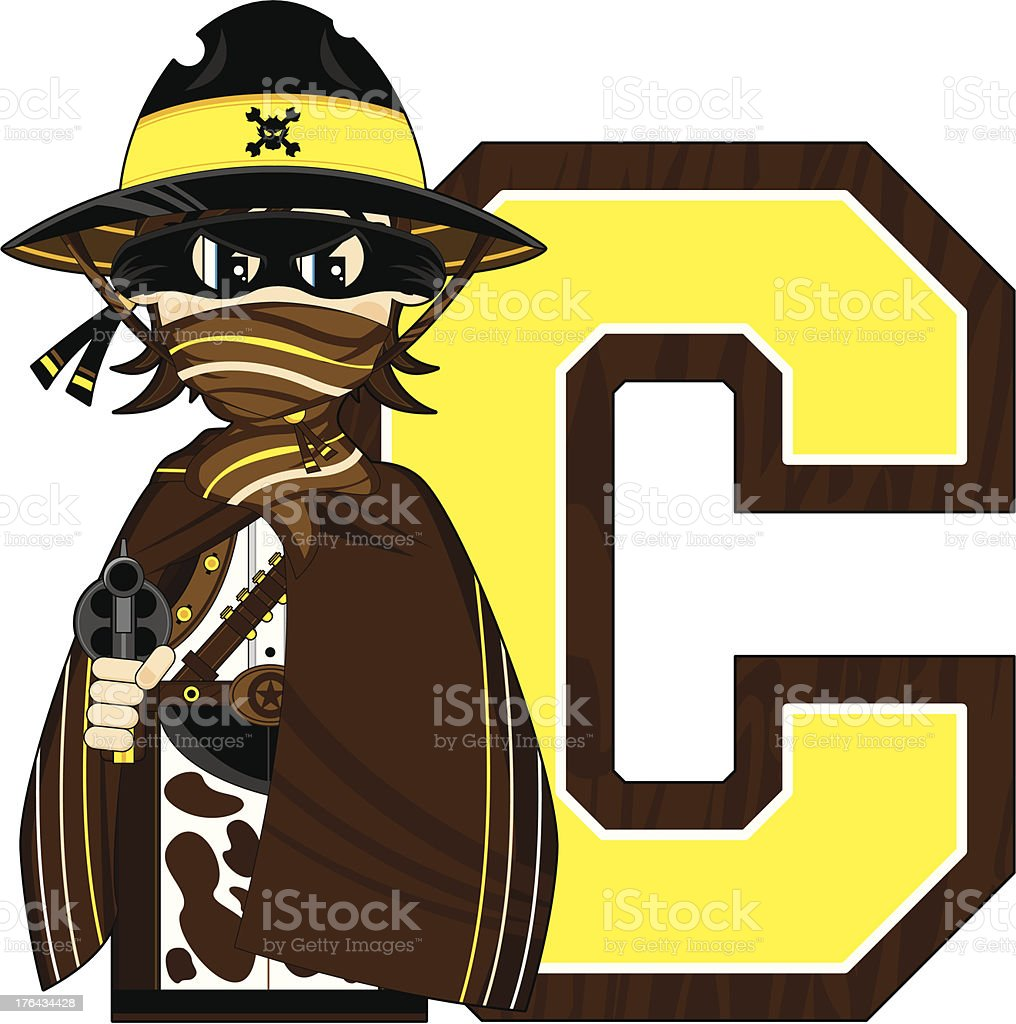 Cowboy Outlaw Learning Letter C royalty-free stock vector art