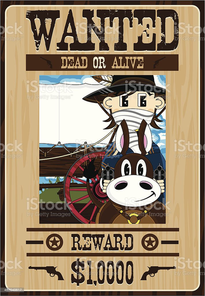 Cowboy Outlaw on Horse Poster royalty-free stock vector art