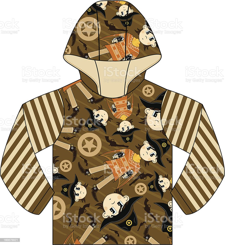 Cowboy Patterned Hooded Top royalty-free stock vector art