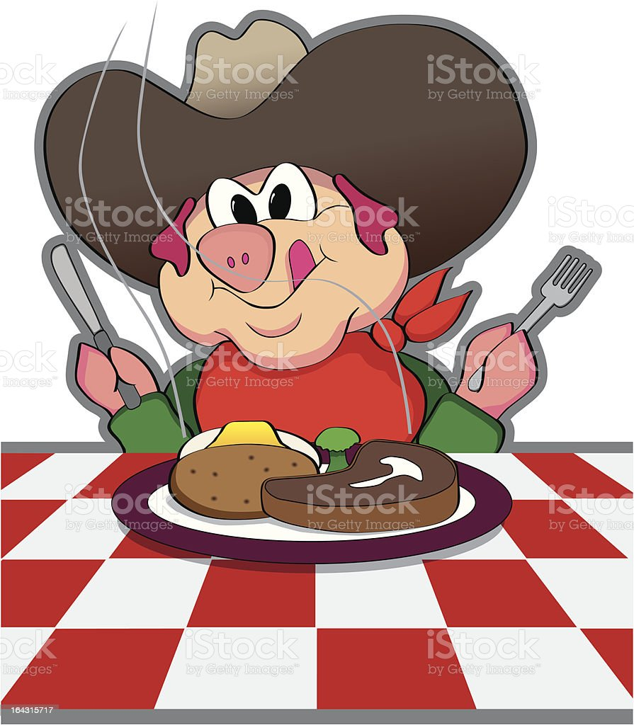 Cowboy Pig royalty-free stock vector art