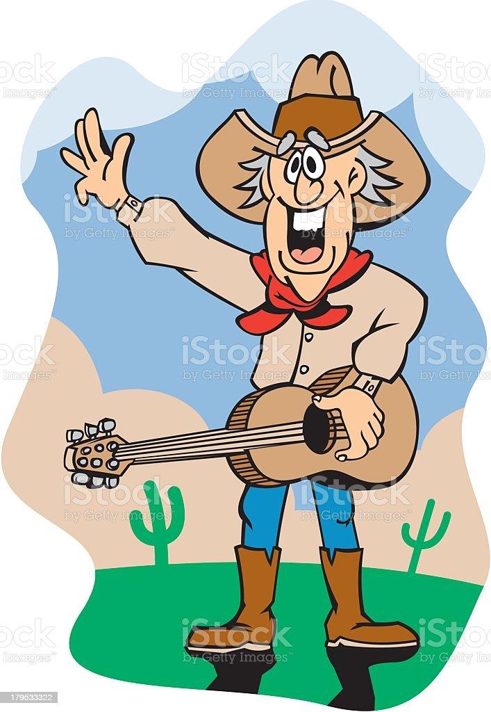 Cowboy Playing Guitar royalty-free stock vector art