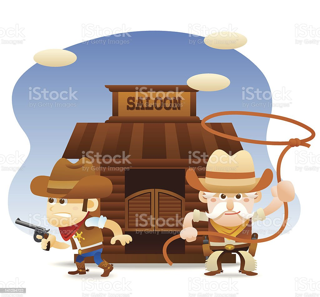 cowboy ready to fight vector art illustration