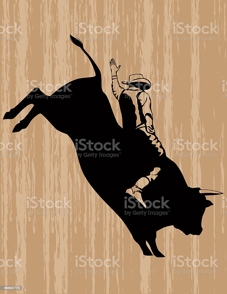 Cowboy Riding a Leaping Bull royalty-free stock vector art