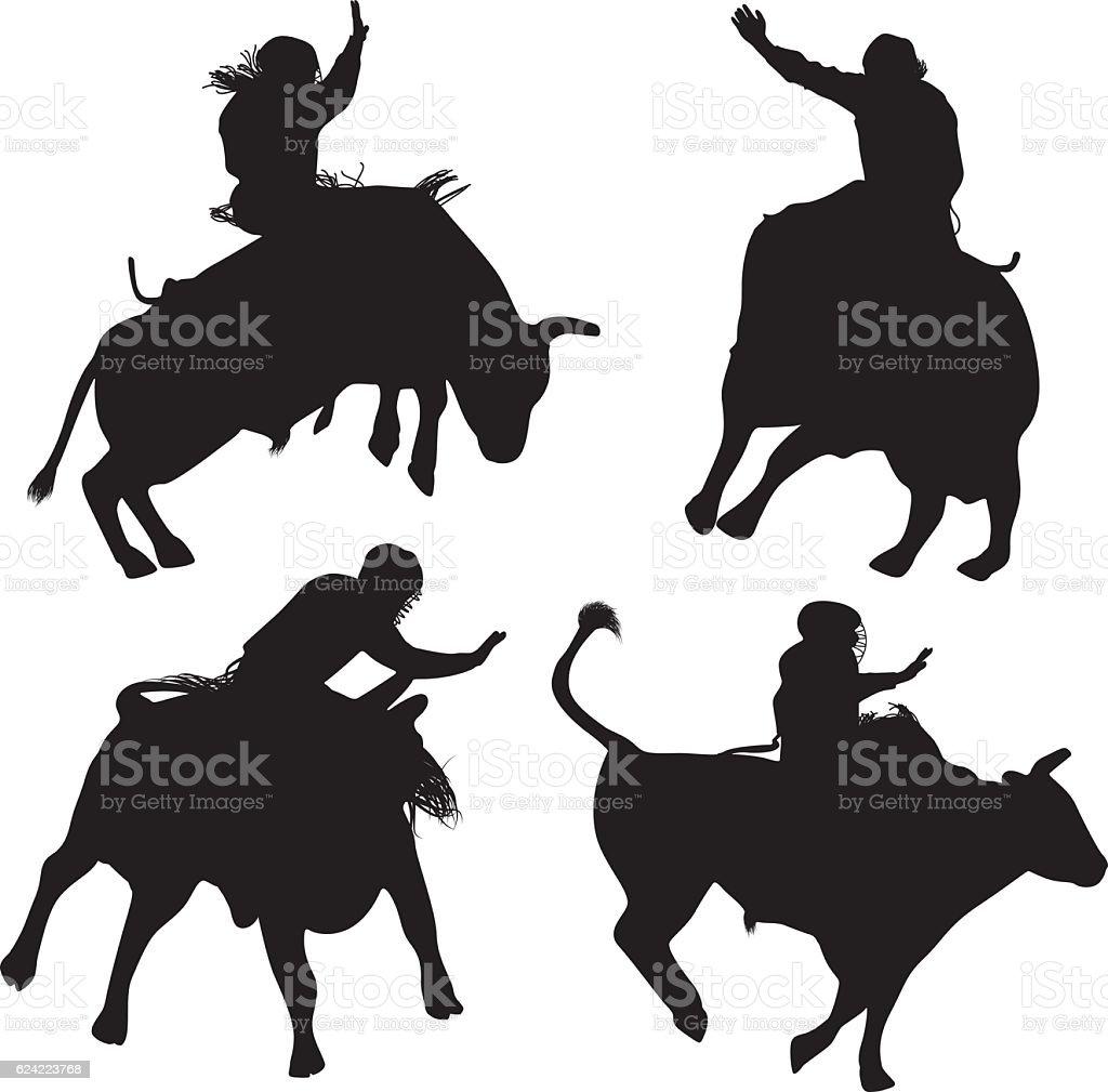 Cowboy riding bull vector art illustration