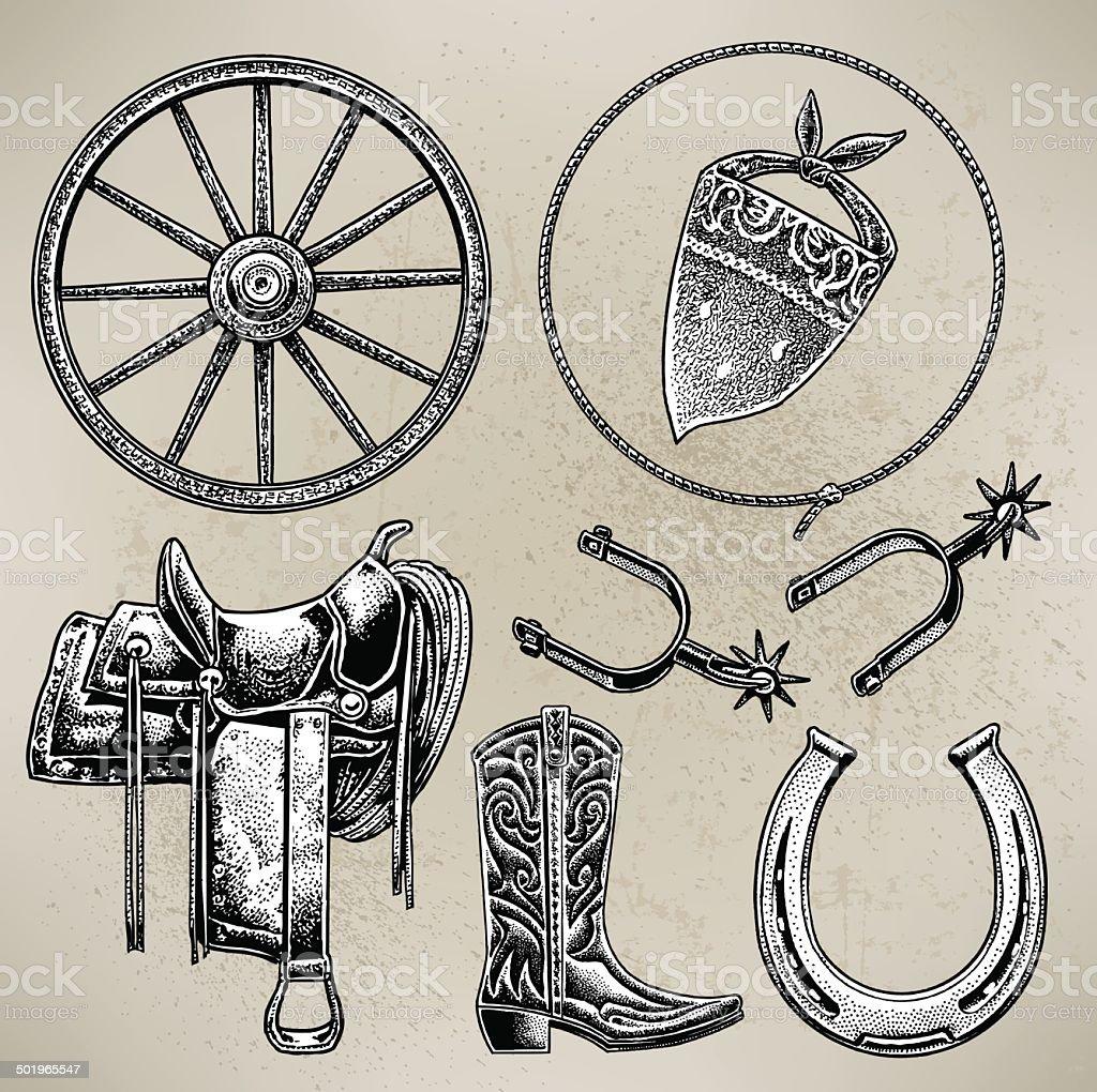 Cowboy Riding Gear vector art illustration