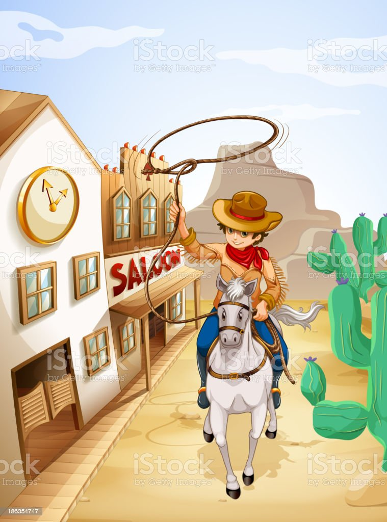 cowboy riding in horse holding a rope vector art illustration