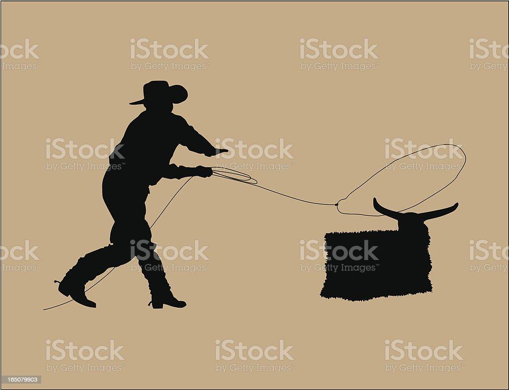 Cowboy Roping royalty-free stock vector art