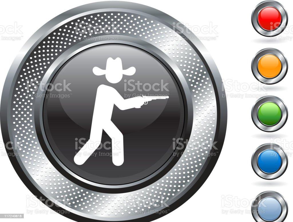 cowboy royalty free vector art on metallic button royalty-free stock vector art