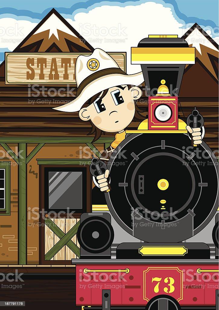 Cowboy Sheriff at Train Station royalty-free stock vector art