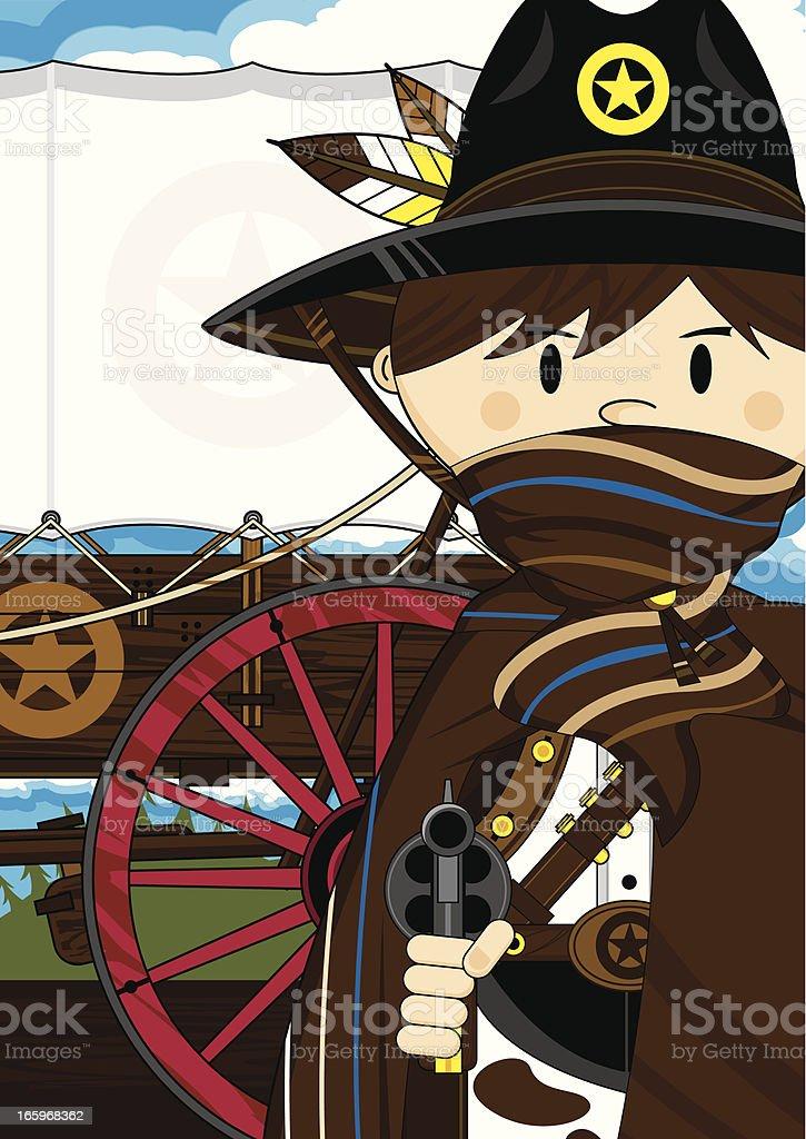 Cowboy Sheriff & Chuck Wagon vector art illustration