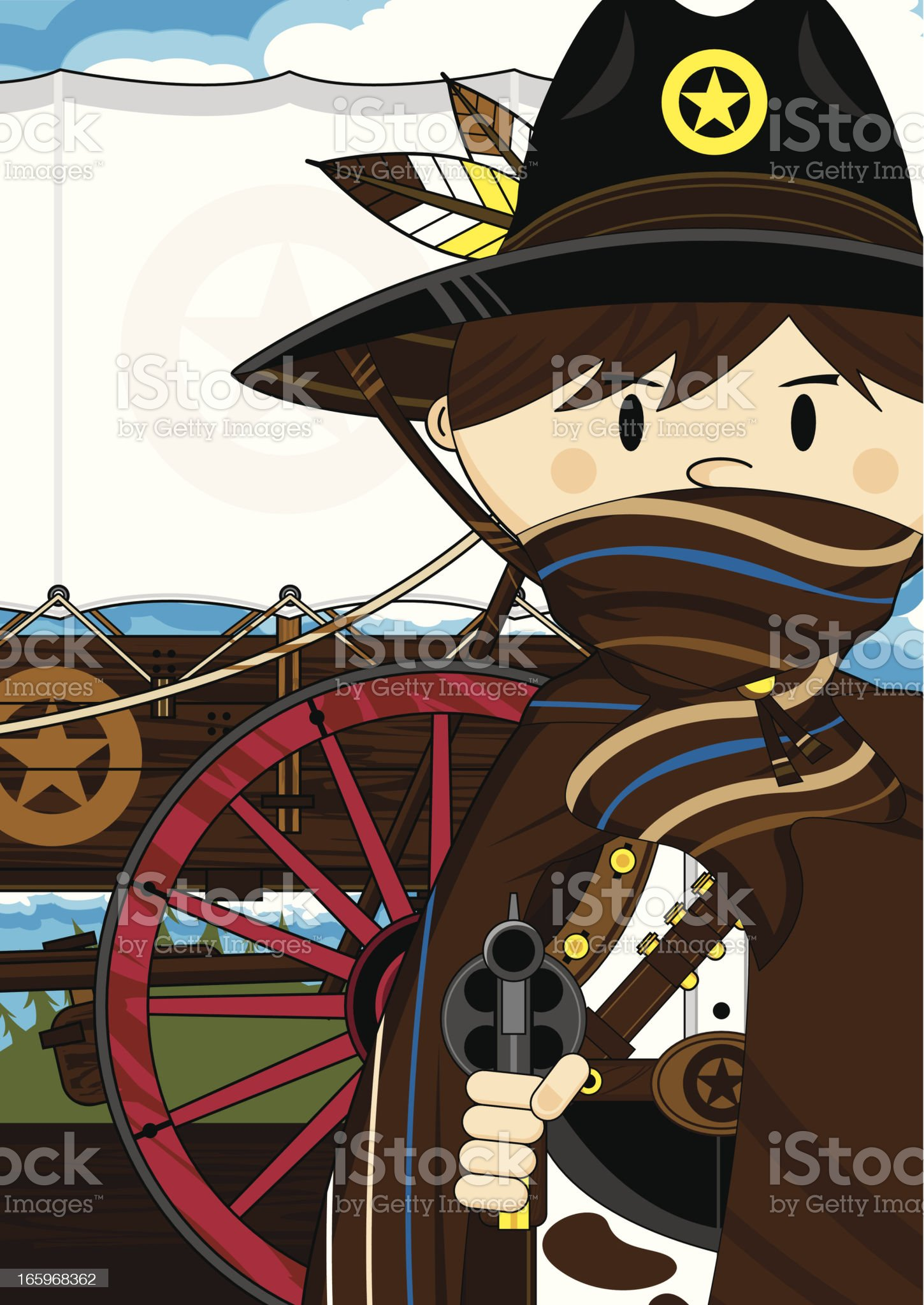 Cowboy Sheriff & Chuck Wagon royalty-free stock vector art