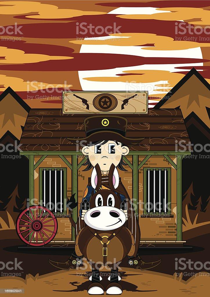 Cowboy Sheriff & Horse Jailhouse Scene royalty-free stock vector art