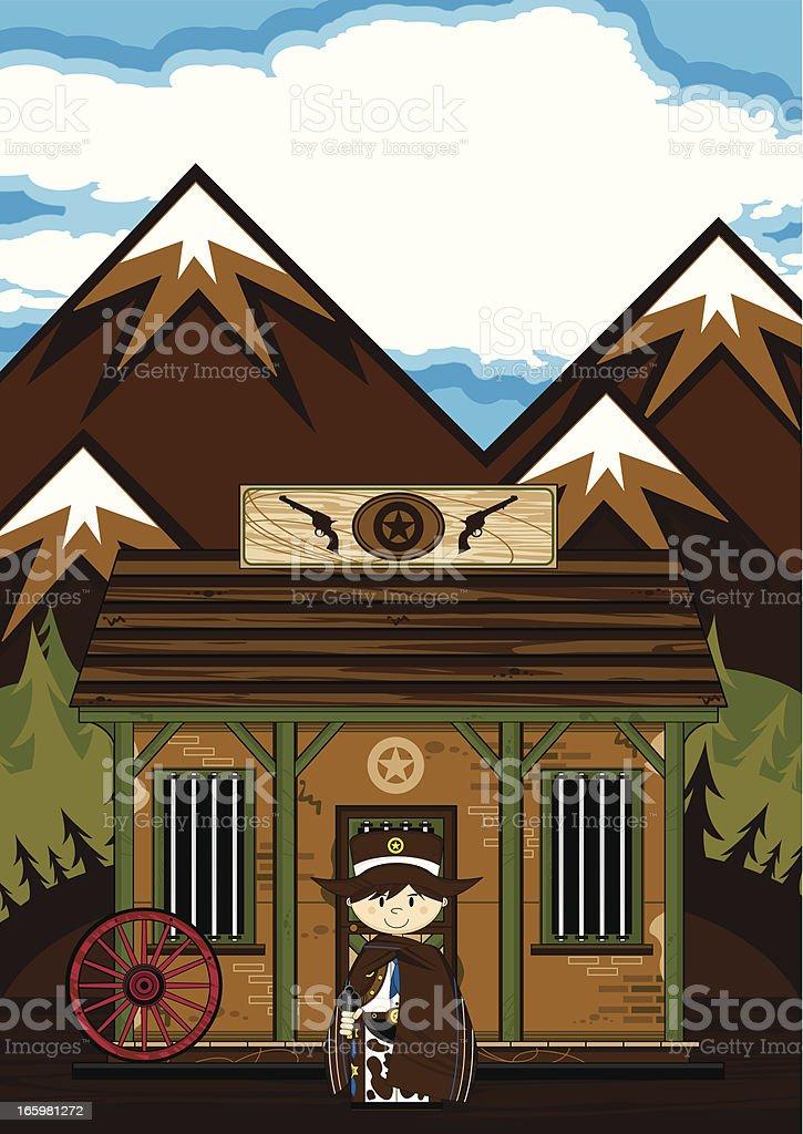 Cowboy Sheriff in Poncho at Jailhouse Scene vector art illustration