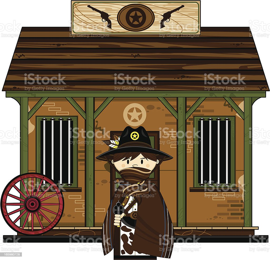 Cowboy Sheriff in Poncho at Jailhouse vector art illustration