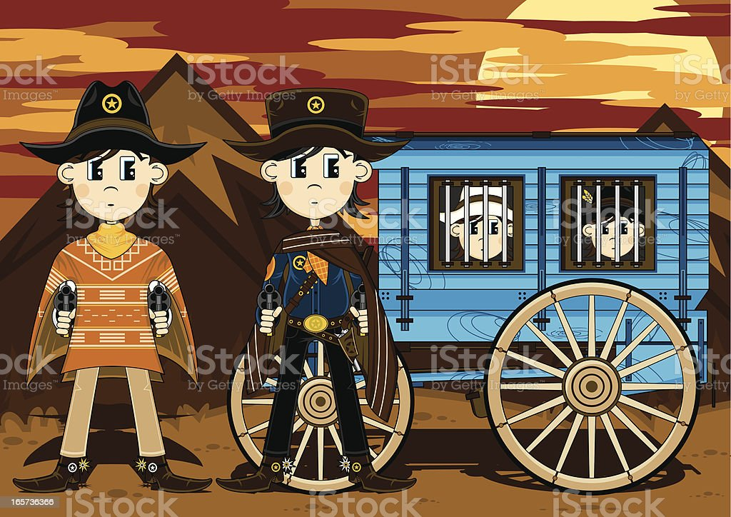 Cowboy Sheriffs with Jail Wagon royalty-free stock vector art