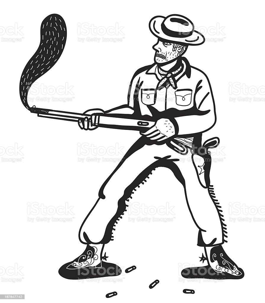cowboy shooting a rifle royalty-free stock vector art