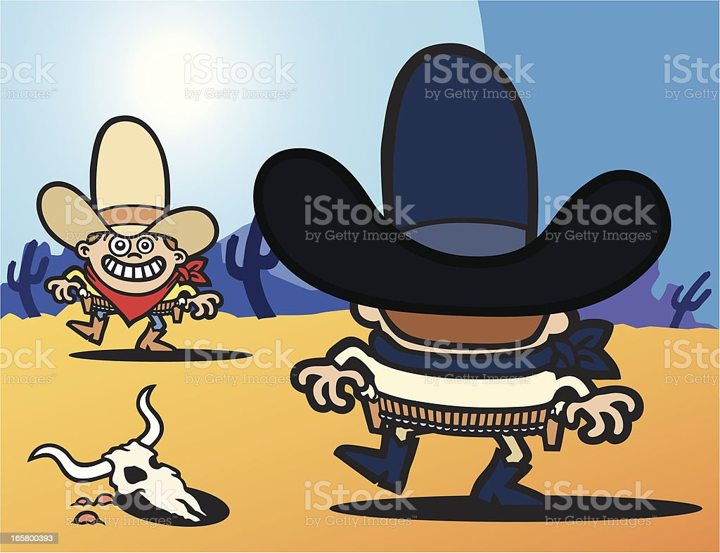Cowboy Showdown royalty-free stock vector art