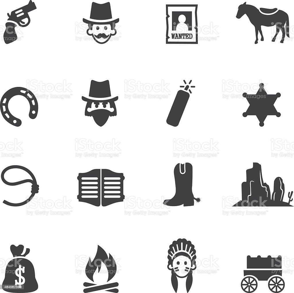Cowboy Silhouette Icons vector art illustration