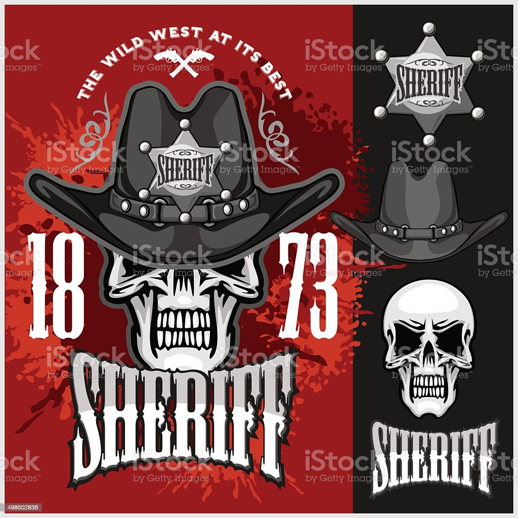 Cowboy Skull in the Hat and Sheriffs star vector art illustration