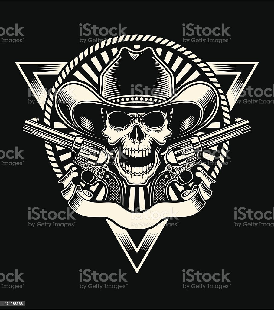 Cowboy Skull With Revolver vector art illustration