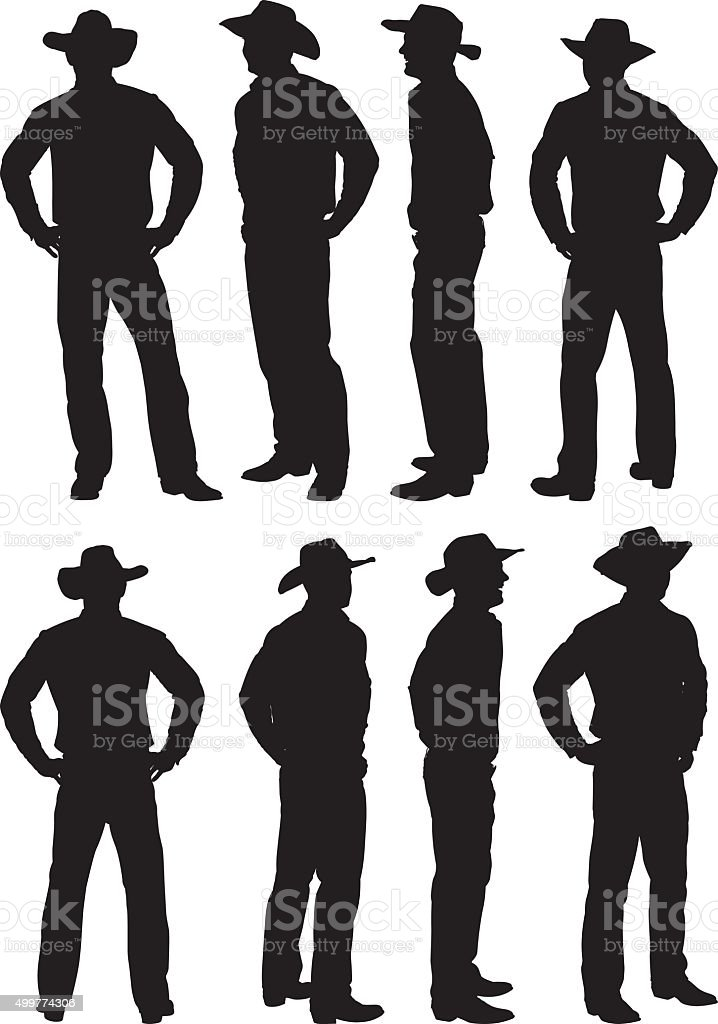 Cowboy standing in various views vector art illustration