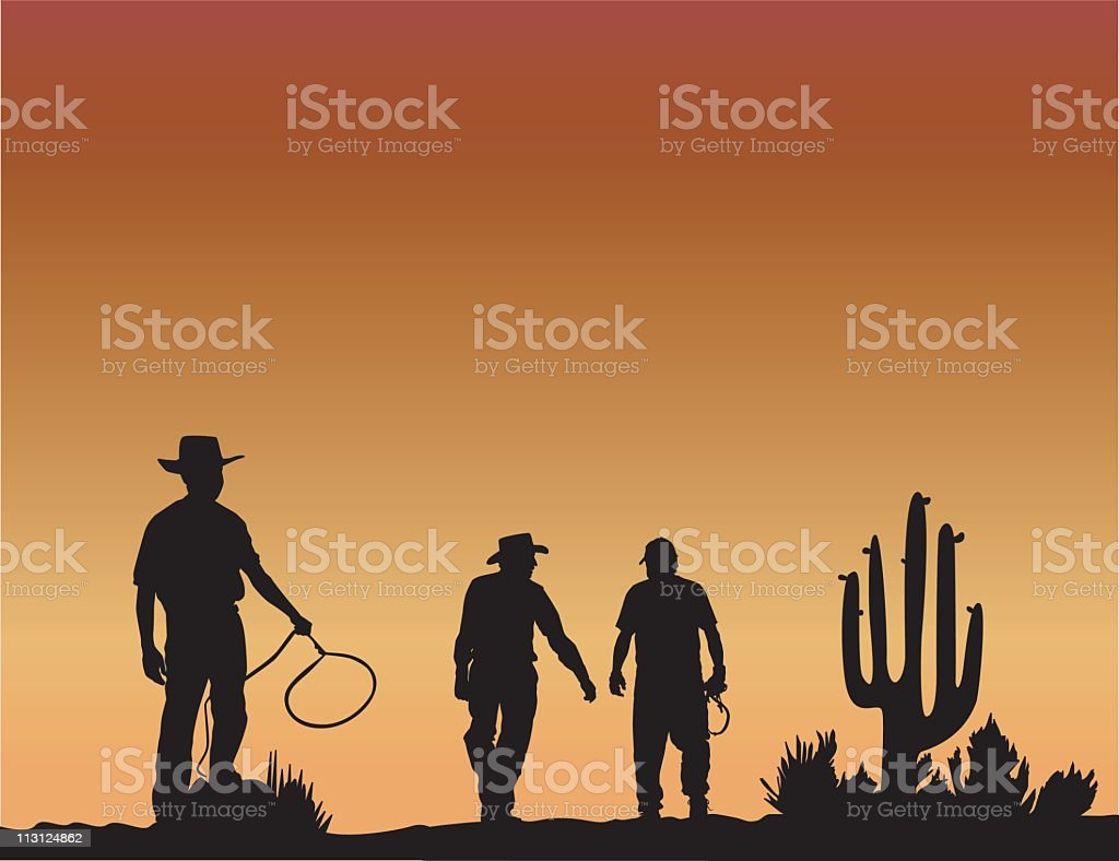Cowboy Sunset (Vector) royalty-free stock vector art