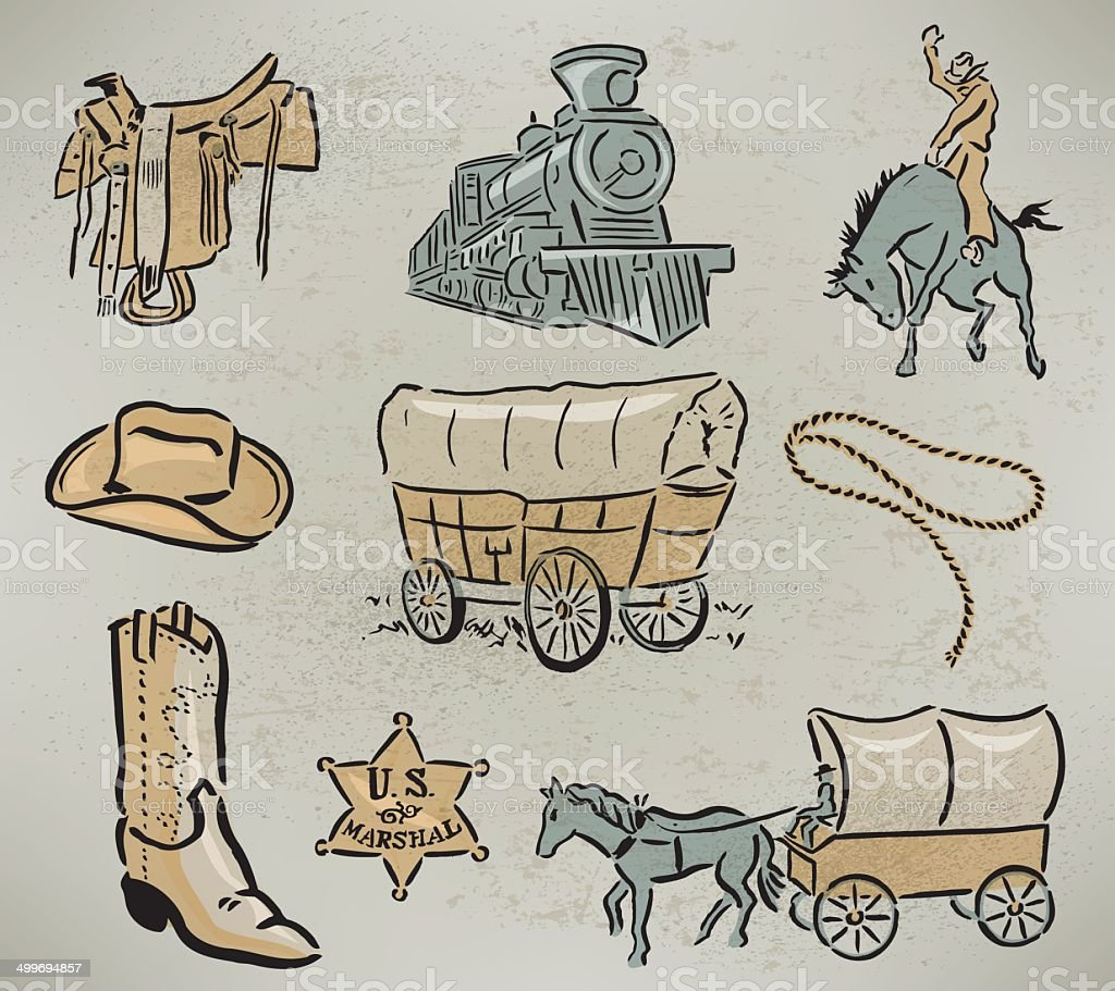 Cowboy Themed - Covered Wagon, Sheriff's Badge, Train, Saddle vector art illustration