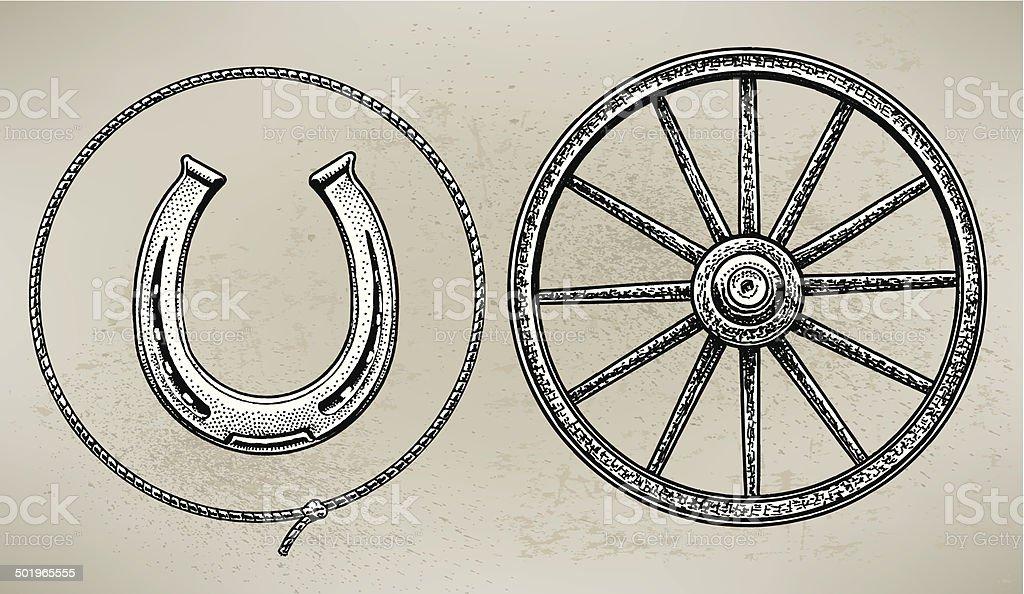 Cowboy Wagon Wheel, Horseshoe and Lasso vector art illustration