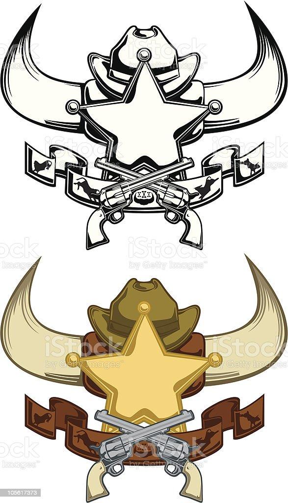 Cowboy Western Emblem vector art illustration