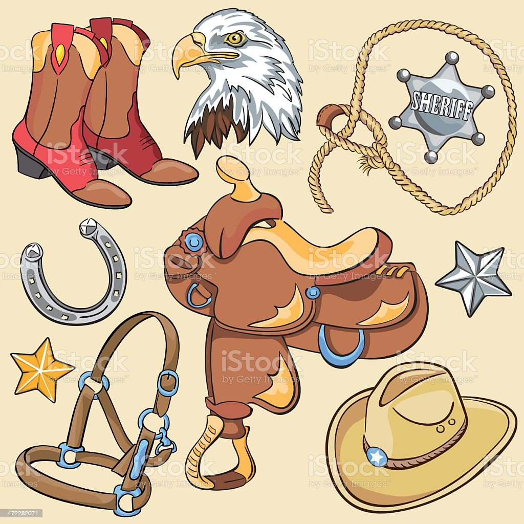 Cowboy & Wild West Icons vector art illustration