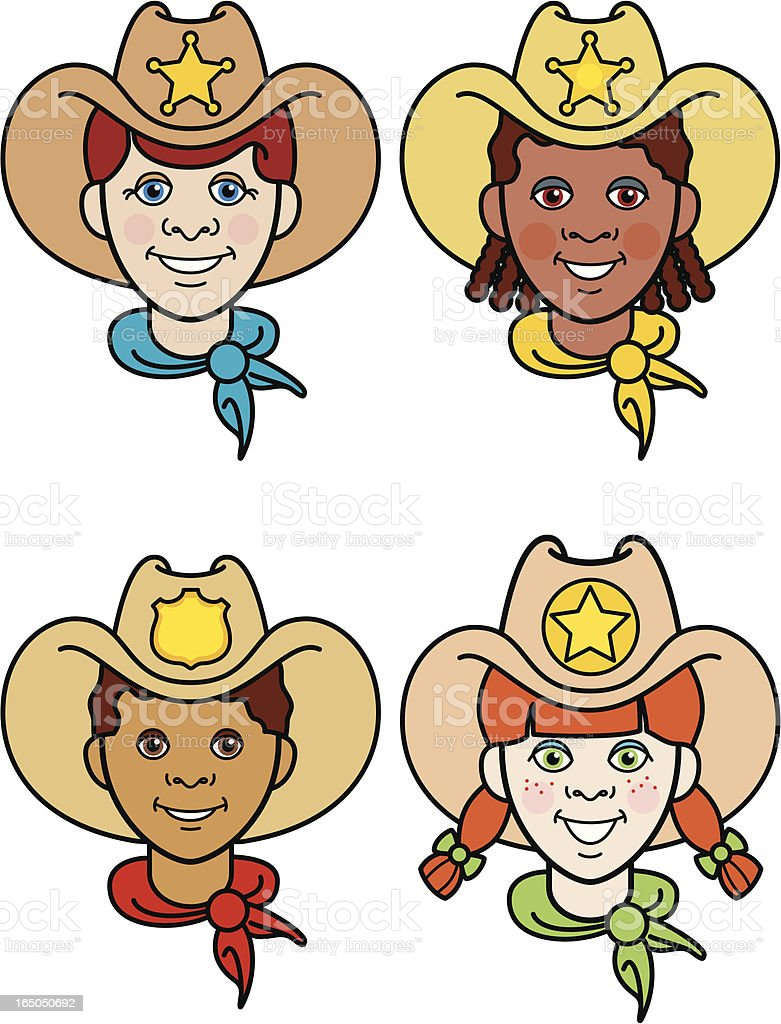 Cowboys and cowgirls royalty-free stock vector art