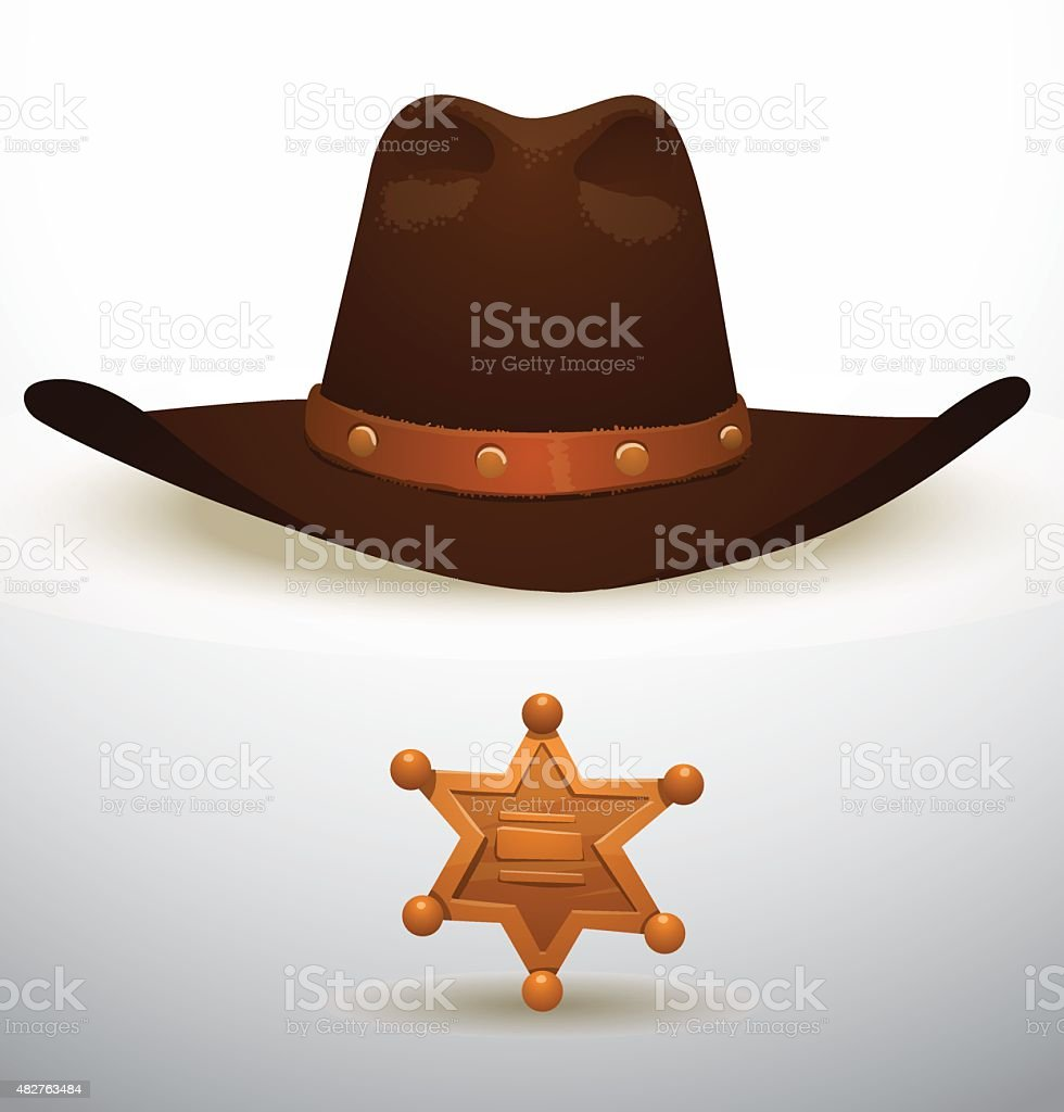 Cowboy's hat and sheriff's star vector art illustration