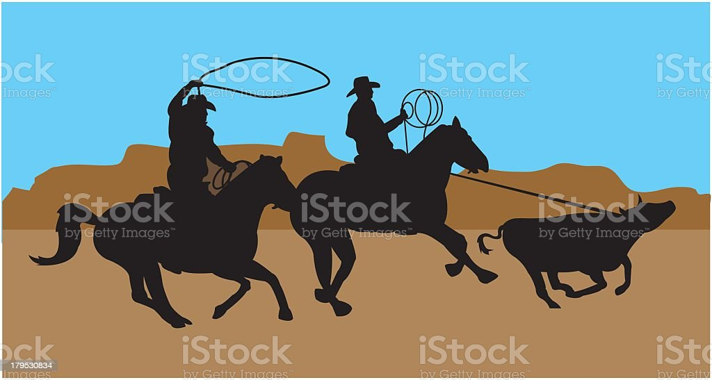 Cowboys Lasso Cattle royalty-free stock vector art