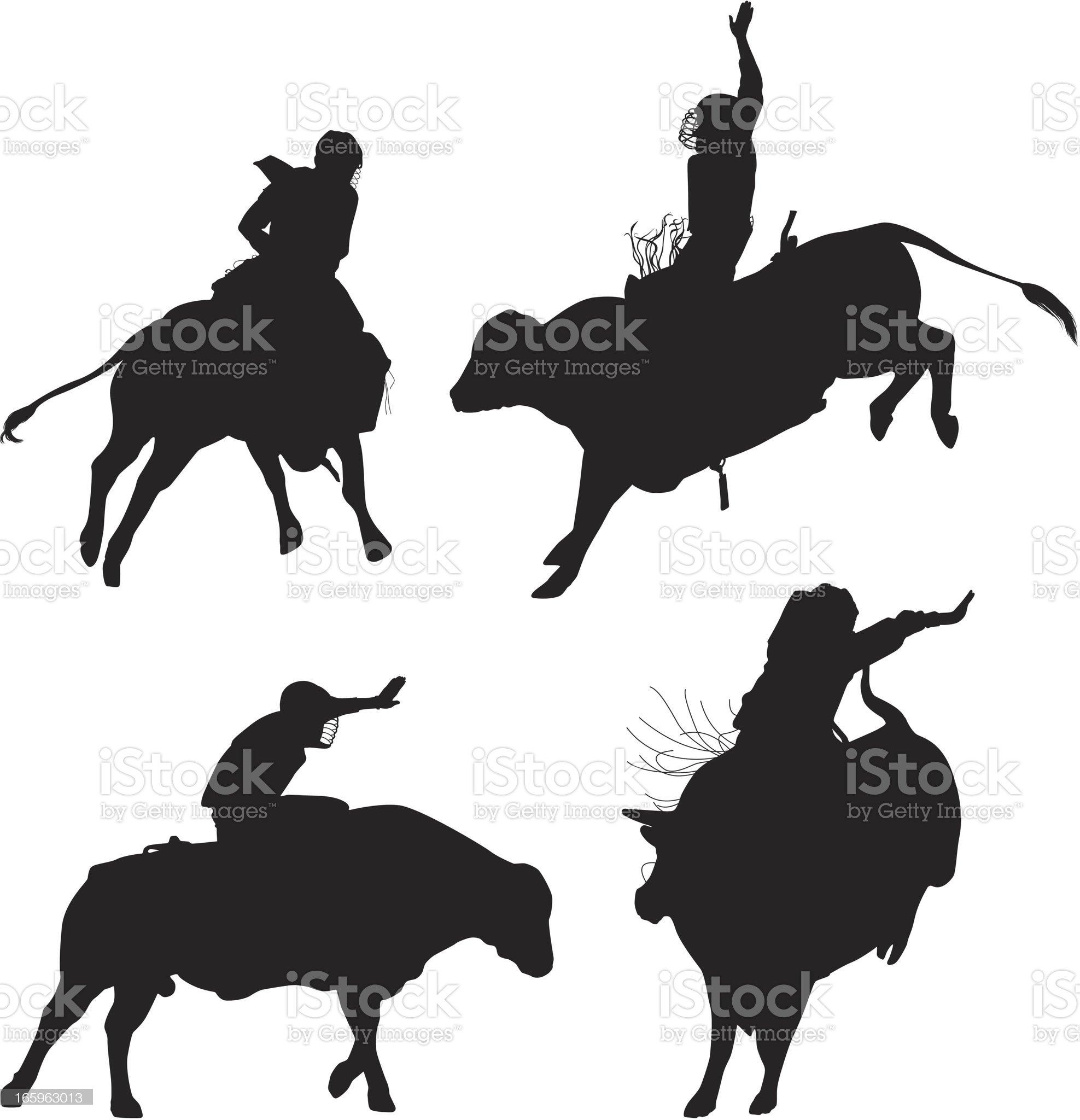Cowboys riding bulls royalty-free stock vector art