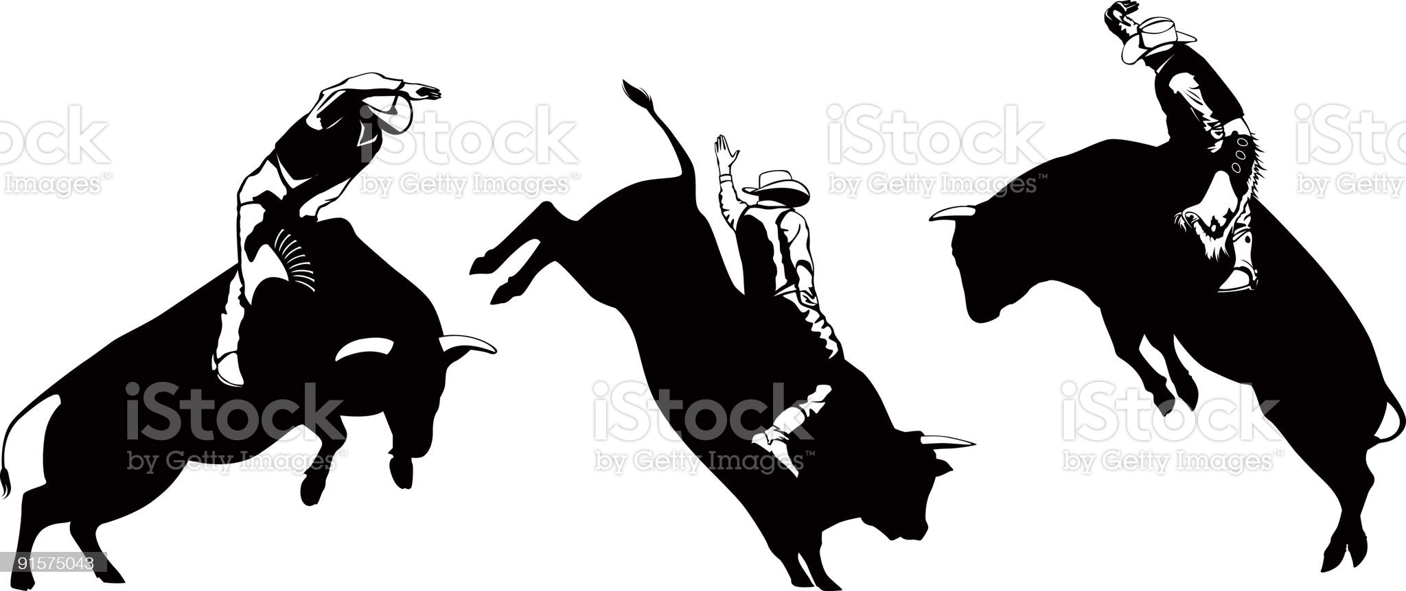Cowboys Riding Leaping Bulls royalty-free stock vector art