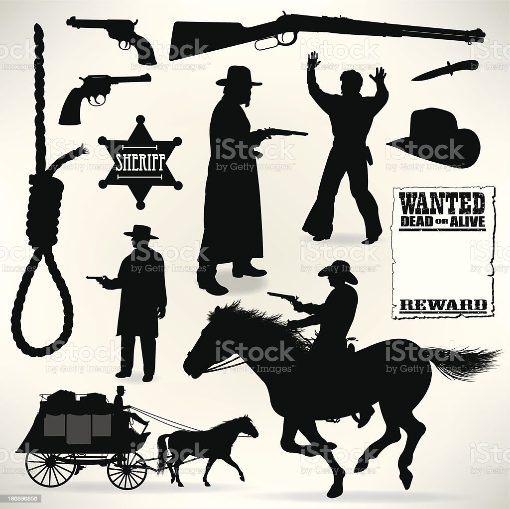 Cowboys - Sheriff and Outlaws, Wild West vector art illustration