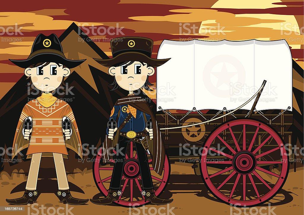 Cowboys with Western Chuck Wagon royalty-free stock vector art