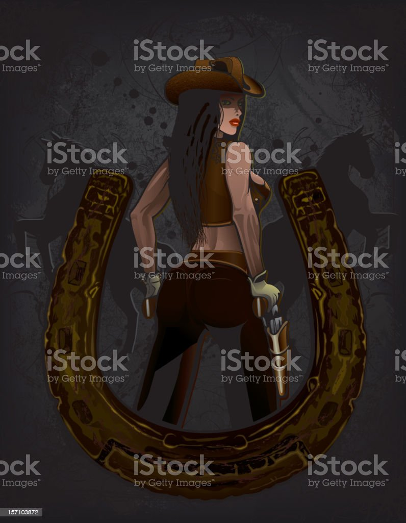 Cowgirl and Horseshoe vector art illustration