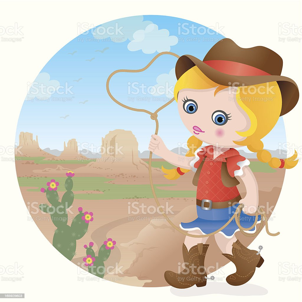Cowgirl at Monument Valley royalty-free stock vector art