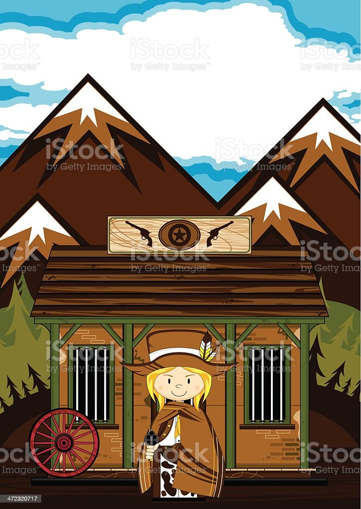 Cowgirl at the Jailhouse Scene royalty-free stock vector art