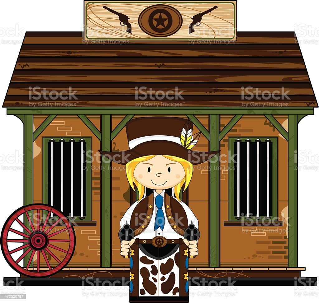Cowgirl at the Jailhouse vector art illustration