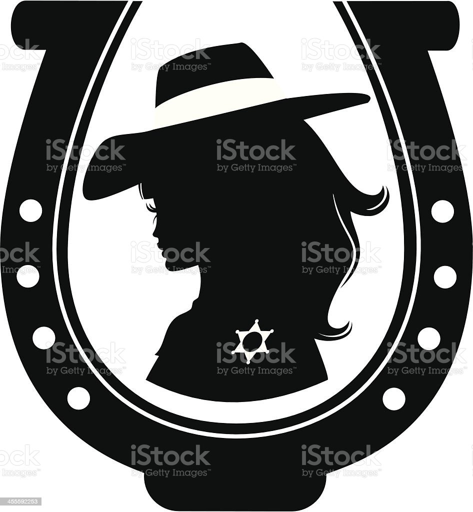 Cowgirl Cameo royalty-free stock vector art