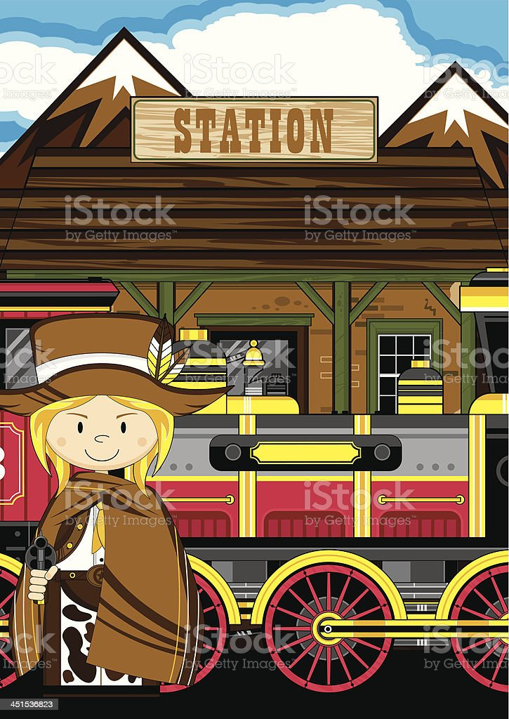 Cowgirl Cowboy at Train Station royalty-free stock vector art