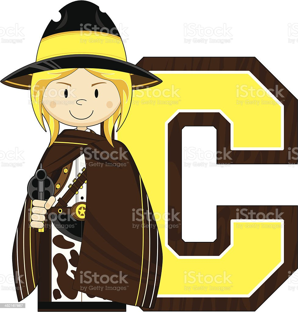 Cowgirl Cowboy Learning Letter C royalty-free stock vector art
