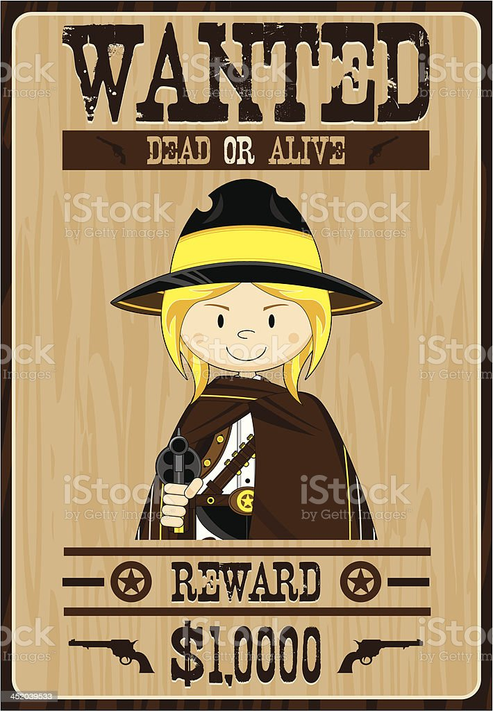 Cowgirl Cowboy Outlaw Poster royalty-free stock vector art