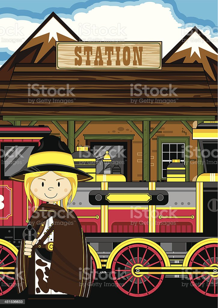 Cowgirl Gunslinger at Train Station royalty-free stock vector art