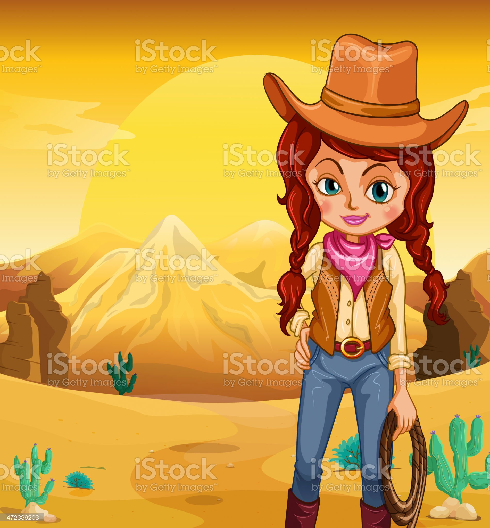 Cowgirl holding a rope standing in the desert royalty-free stock vector art