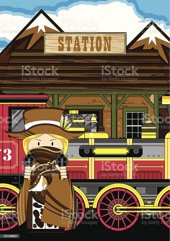 Cowgirl Outlaw at Train Station royalty-free stock vector art